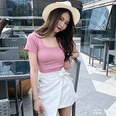 夏季修身短袖上衣方領針織打底衫學生純色短款T恤女裝潮 道禾生活館