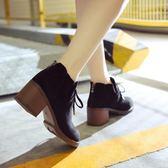 女英倫風韓版粗跟高跟短靴圓頭踝靴