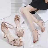 高跟細跟腳腕綁帶鉚釘性感女涼鞋包跟女鞋細帶羅馬鞋 檸檬衣舍