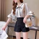 VK精品服飾 韓系木耳邊領荷葉袖亮絲寬口短褲套裝短袖褲裝