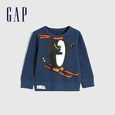 Gap男幼童 碳素軟磨系列 趣味互動刷毛休閒上衣 656229-藏藍色