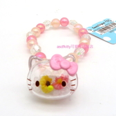 asdfkitty可愛家-KITTY大臉造型小花串珠兒童彈性塑膠手環/手鍊-日本正版商品