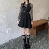 潮ins長袖連身裙2021年秋季新款女豹紋泡泡袖氣質裙子設計感小眾 貝芙莉