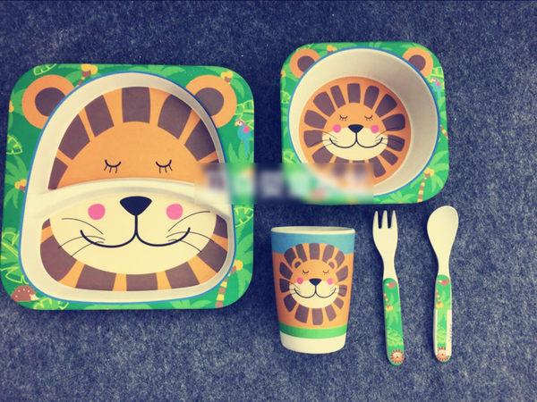 [yookidoo]兒童餐具 正品yookidoo勺叉盤杯組合 特價嬰幼兒竹纖維餐具套裝