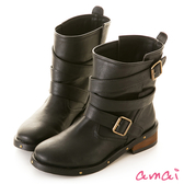 amai性格層次繞帶釦環造型工程靴 黑