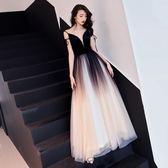 禮服洋裝 晚禮服女宴會公司年會主持高貴黑色晚宴酒會高端大氣長款 糖果時尚
