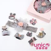 UNICO 嬰兒少髮量秋冬新款髮帶髮夾禮盒組-8件組