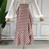半身裙一片式格子半身裙女春季韓版高腰荷葉邊繫帶中長款魚尾包臀長裙子新品