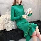 針織洋裝 慵懶風套頭毛衣女長款過膝韓版加厚2020秋冬季新款打底針織連身裙 4色M-2XL