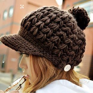 韓版秋冬鴨舌手工編織大球帽小木扣 針織毛線帽子 9色【B7035】