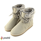 Paidal 交叉綁帶內鋪毛絨短筒靴-奶茶色