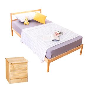 【YFS】頂級松木單人床架二件房間組(床架DIY+床頭櫃)