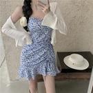 吊帶洋裝 碎花吊帶連身裙女法式復古魚尾短裙2021夏季新款修身包臀氣質裙子 童趣屋