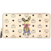 MCM Rabbit 兔子印花圖騰拉鍊長夾(裸膚色/內裡粉色) 1810480-40