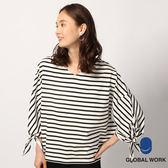 GLOBAL WORK女素色條紋寬V領圓領雙面穿落肩側邊微開叉袖口綁帶設計長袖上衣-三色