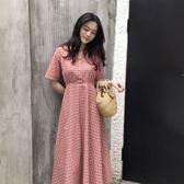 夏季2018韓版新款百搭溫柔可愛氣質長裙學生女V領格子短袖連身裙
