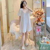 睡裙女夏季薄款純棉短袖宮廷公主風孕婦2021年新款白性感睡衣裙子 蘿莉新品