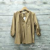 【Tiara Tiara】百貨同步aw 簡約系開襟縮口長袖純棉襯衫(藍/綠/淺卡其)