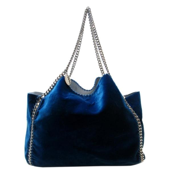 Stella McCartney Falabella 藍色絨布鍊條手提肩背托特包
