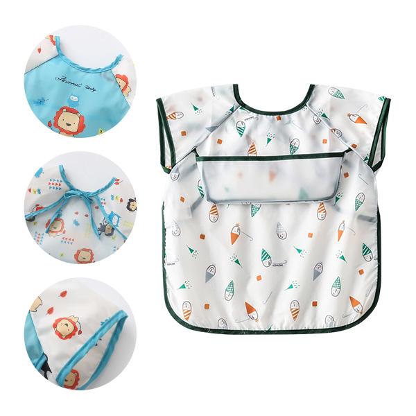 嬰兒口水巾 寶寶無袖防水圍兜開口接飯飯兜 -JoyBaby