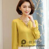雪紡衫/女式長袖氣質新款韓版打底衫秋裝百搭T恤外穿寬鬆甜美上衣「歐洲站」
