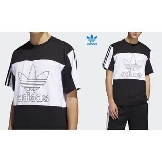 KUMO SHOES-Adidas originals outline T-shirt 男款 休閒 短T 黑色 DY6656