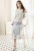 單一優惠價[H2O]腰部整圈鬆緊帶網紗刺繡顯瘦甜美長紗裙 - 黑/灰藍/粉色 #8682001