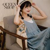 Queen Shop【01084567】牛仔蛋糕無袖洋裝*現+預*