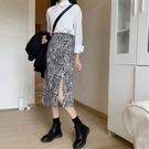 【Charm Beauty】豹紋 遮胯 半身裙 女2021年 春裝 新款 時尚 顯瘦 中長裙 a字 高腰 包臀裙子