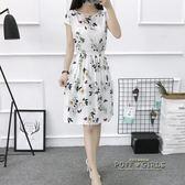 夏季新款無袖印花a字裙女韓版收腰修身棉綢碎花洋裝短款裙