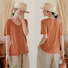 天絲亞麻針織薄T恤短袖上衣/設計家 S210602