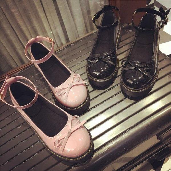 萬聖節大促銷 新款日系娃娃鞋原宿風平底圓頭小皮鞋蝴蝶結女鞋英倫女單鞋