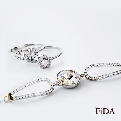 奧地利水晶正品 大單鑽質感系典雅手鍊  - FiDA