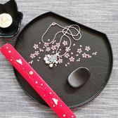 日式托盤茶盤茶杯盤黑色長方形塑料托盤仿木紋櫻花紋  WD聖誕節歡樂購