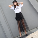 夏季新品網紗半身裙超薄透視女紗裙高腰單層黑色打底外搭透明長裙 - 風尚3C