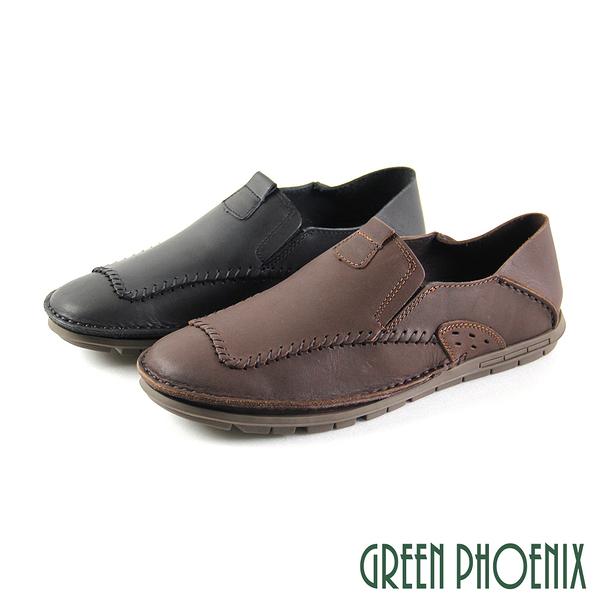 T29-18830 男款全真皮休閒鞋 線條剪裁全真皮平底兩用休閒鞋/穆勒鞋【GREEN PHOENIX】