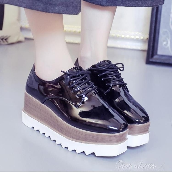 zipper鞋單鞋女厚底鬆糕韓版百搭學生英倫原宿小皮鞋(聖誕新品)