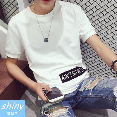 【Y070-2】shiny藍格子-瑕疵特賣.夏季日系復古字母印花圓領短袖上衣