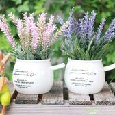 交換禮物 創意花盆景客廳桌面假花絹花塑料花迷你小盆栽擺件仿真植物