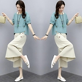 時尚棉麻套裝女短袖2021夏裝新款氣質顯瘦寬松亞麻闊腿褲兩件 快速出貨