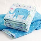 HIBOU 今治織品綿柔浴巾彩色雨滴&象寶寶-繽紛藍色(長方形60X120CM)[衛立兒生活館]