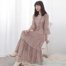 「Autumn」絲絨緞帶印花洋裝 - e...