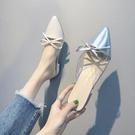 快速出貨 懶人半拖鞋女 銀色蝴蝶結尖頭中跟時尚外穿包頭網紅穆勒鞋