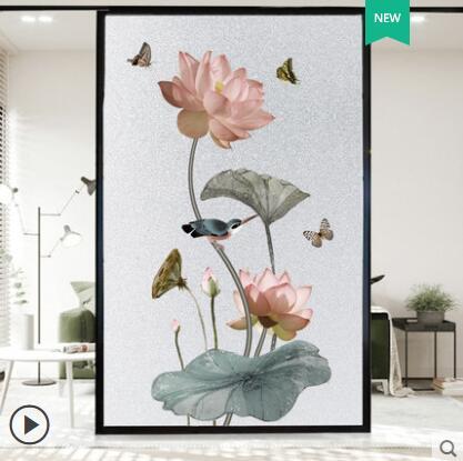 窗戶貼紙 中國風窗戶玻璃貼紙防走光透光不透明磨砂浴室防窺視花朵窗紙貼膜 科炫數位