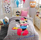 眼鏡米妮-迪士尼加厚法蘭絨暖暖被-(甜甜入夢) 迪士尼正版授權