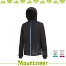 【Mountneer 山林 男 輕量三層SOFTSHELL外套《黑》】22J09-01/防潑水/慢跑外套/彈性