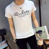 短袖T恤 男裝印花修身圓領青年夏季T恤上衣服《印象精品》t05