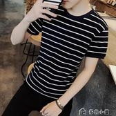 上衣 短袖T恤衫男士衣服青少年男裝體恤潮流韓版修身圓領條紋半袖 多色小屋