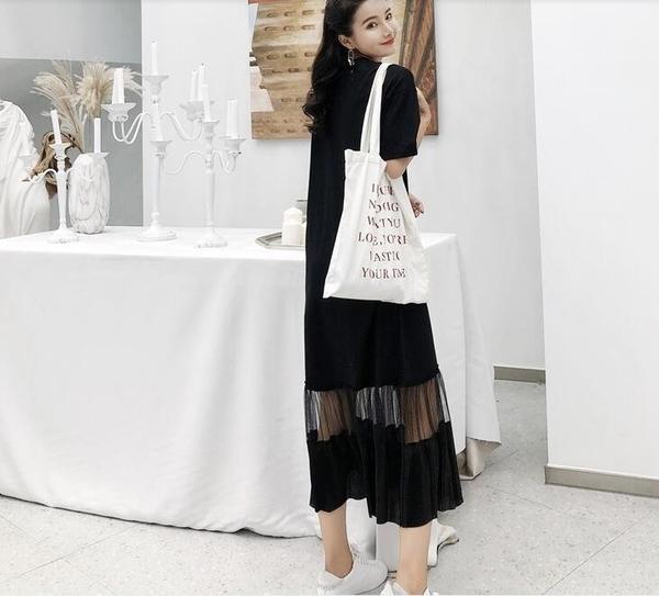 洋裝 短袖 長裙 L-3XL新款/長款大碼拼接網紗裙擺短袖連身裙S109-6261.胖胖唯依