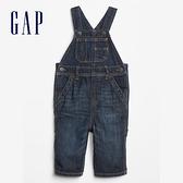 Gap嬰兒 時尚水洗直筒型牛仔背帶褲 546673-藍色